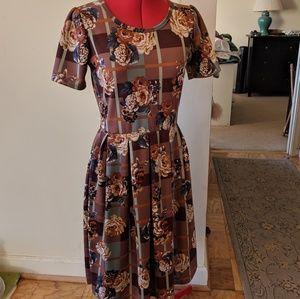 LuLaRoe Amelia Dress•M•EUC•Brown Floral Print